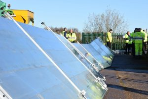Rapidam Rigid deployment training with the Environment Agency. testing for use along curves and on inclined surfaces