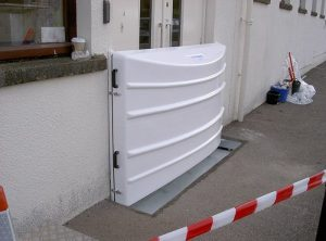 Floodguard Clip-in Barrier deployed at Diageo site in Elgin, Scotland. This is a 1.2m high barrier but easily deployed by a single person in less than 1 minute